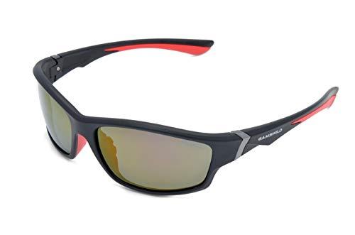 Gamswild Sonnenbrille WS6036 Sportbrille Skibrille Fahrradbrille Damen Herren Unisex | blau | lila | rot, Farbe: Schwarz/Rot