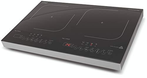 CASO ProGourmet 3500 Induktionskochplatte doppelt mobil, 3500W Powersharing, 60-240°C, 4 Funktionen, Timer 180 Min., Töpfe bis 24cm, Glaskeramik