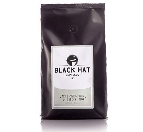 BLACK HAT ESPRESSO – Premium Espresso-Bohnen – stark & säurearm – 1 kg ganze Bohnen für Kaffee-Vollautomaten & Siebträger