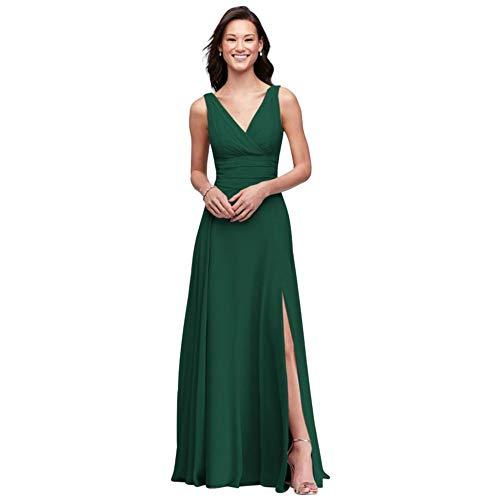 David's Bridal Surplice Tank Long Chiffon Bridesmaid Dress Style F19831, Juniper, 6