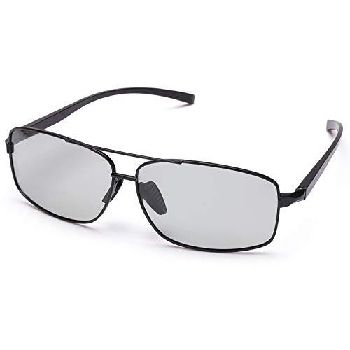 TosGad Herren Photochromatisch Polarisiert Selbsttönend Sonnenbrille Al-Mg Anti Reflexbeschichtung für Autofahren Laufen Radfahren Angeln Golf 100{2d86961213cb55e66aa52961e387185b242a687a4b411164acb52aac166a59f6} UVA UVB Schutz Hoch (Grau/Grau Photochromatisch)