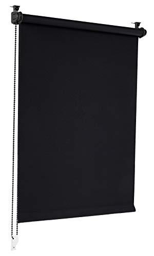Sonello Verdunkelungsrollo Klemmfix ohne Bohren 80cm x 130cm Schwarz Verdunklungsrollo Fensterrollo Rollo Seitenzugrollo Klemmrollo für Fenster & Tür