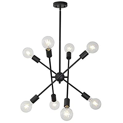 BONLICHT Black Sputnik Chandeliers 8 Light Vintage Industrial Semi Flush Mount Ceiling Light Mid Century Modern Pendant Lighting for Kitchen Dining Room Foyer Hallway