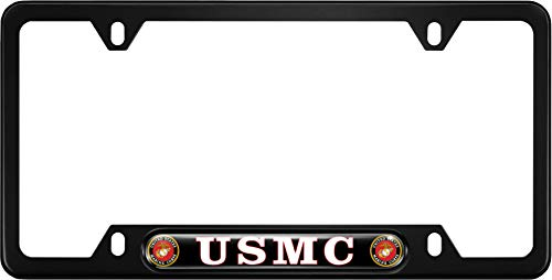 USA Patriotic Anodized Aluminum Thin Top | Narrow Top Car License Plate Frame with USMC | Marines - Black Insert with Free caps - Black