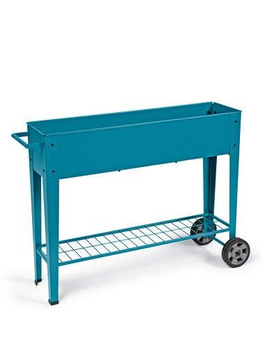 Gardener's Supply Company Modern Blue Steel Mobile Garden Planter Cart Rolling Patio Planter on Wheels