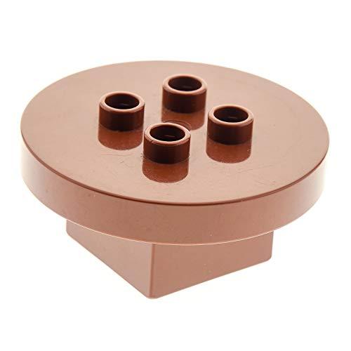 Produktbild 1 x Lego Duplo Möbel Tisch braun 4 x 4 x 1.5 rund Puppenhaus Küche Wohnzimmer Zirkus Ritter Burg 31066