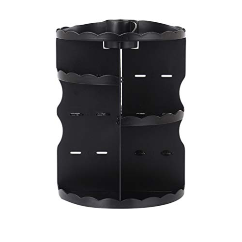 Jitong Ronde Organisateur Produits de Beauté Rotatif à 360° Multifonction Ajustable Maquillage Rangement pour Cosmétiques (Noir, 23 * 23 * 30.5cm)