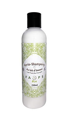 Après Shampoing 20% Lait d'Anesse Frais Bio Français.Produit 100% Naturel,Végétal. Formulé sans Sulfates, Silicones, Parabens, EDTA, Alcool, Colorants, OGM, huiles minérales, huile de palme 250 ML