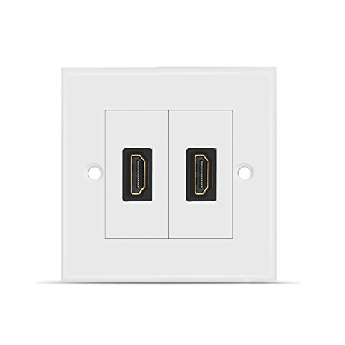 TNP HDMI Wall Plate - Dual (2 Port) HDMI Socket Plug Jack Outlet Decorative Face Plate Cover Mount Panel with 4K UHD ARC/eARC Ethernet Pass-Thru Support High Speed Extension Pigtail Coupler Cable
