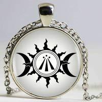 Huang Glasart Awen Keltisches Druidic Symbol Anhänger Dreifachmond und Sonne Foto Halskette runde Form Vintage Silber Halskette Damen Bijoux