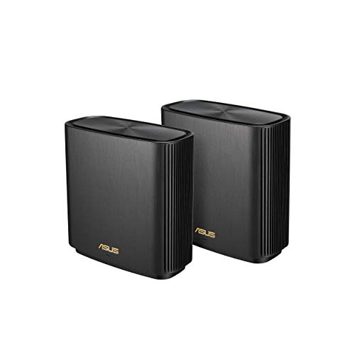 ASUS ZenWiFi AX (XT8) BLACK 2 Pack - AX6600 Whole-Home Tri-band Mesh WiFi 6 System, Coverage up to 5,500 Sq. ft. or 6+ rooms, 6.6Gbps WiFi, 3 SSIDs, life-time free network security & parental controls