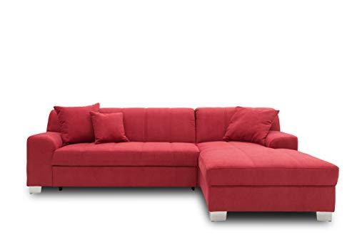 DOMO collection Capri Ecksofa | Eckcouch in L-Form mit Schlaffunktion, Polsterecke Schlafsofa, bordeaux rot, 239x152x75 cm