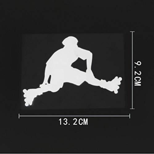 5 Piezas Pegatina para Coche 13,2 cm x 9,2 cm Divertido Patinaje sobre Ruedas Saltar calcomanía Deportiva Vinilo Pegatina para Coche Blanco
