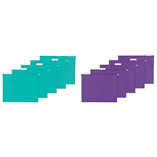 AmazonBasics Hanging Folders, Letter Size, Aqua, 25-Pack & Hanging Folders, Letter Size, Violet, 25-Pack