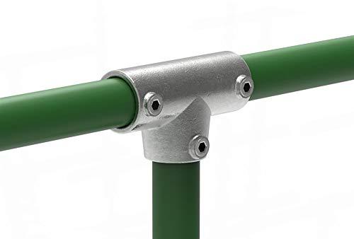 Fenau | T-Stück/T-Verbinder, lang, 0-11° verstellbar, Ø 33,7 mm, Rohrverbinder, Temperguss galvanisiert, feuerverzinkt, inkl. Schrauben