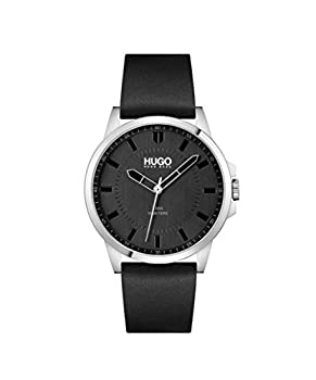 HUGO Men s Stainless Steel Quartz Watch with Leather Strap Black 22  Model  1530188