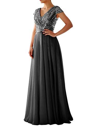 Tomwell Damen Elegant A-Linie V-Ausschnitt Abendkleid Paillettenkleid Partykleid Sexy Kurzarm Cocktailkleid Brautjungfer Hochzeit Glitzer...