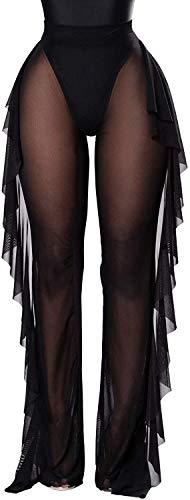 JFAN Pantalones Largos Transparente para Mujer Ropa de Playa con Volantes Bikini de Cintura Alta