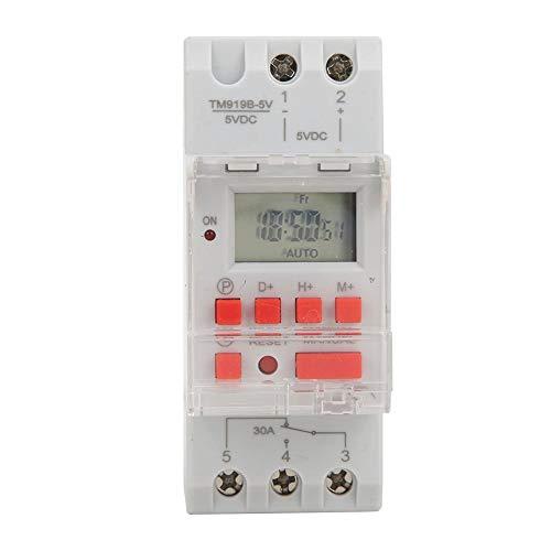 Digitale timer, DC 5 V 30 A timer aan/uit besturing digitale tijdrelais, wekelijks 12/24 uur programmeerbaar led-display met handleiding (mogelijk niet beschikbaar in het Nederlands). 35 mm DIN rail schakelbord
