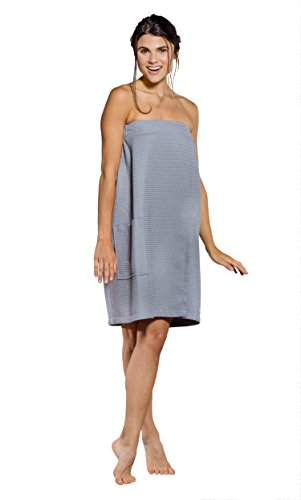 Turquaz Linen Lightweight Knee Length Spa/Bath Waffle Body Wrap with Adjustable Touch Fastener (Large, Gray)