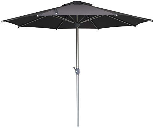 SORARA APPLE Round 3M Sun Shade Garden Umbrella Parasol | Grey | Pole Width 48 mm | Stainless Aluminium