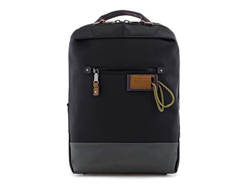 SCHARLAU - Mochila Pequeña de Nailon y Detalles en Piel Natural, Compartimento para un Portátil de 13 Pulgadas, Personalizable con tu Nombre, 25x37x6cm, en Color Negro
