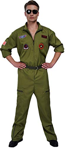 Men's Air Force Fighter Pilot Jumpsuit Flight Suit Costume for Adults with Embroidered Patches and Pockets (Large) Green