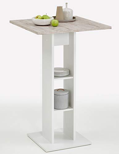 PEGANE Table de Bar de 2 étagères, Finition Blanc/chêne Sable - Dim : L.70 x H.109 x P.70 cm