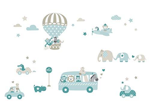 lovely label Wandsticker selbstklebend Tiere ON Tour Taupe/Mint/Petrol – Wandaufkleber Kinderzimmer/Babyzimmer mit Tieren - Wandtattoo Schlafzimmer Mädchen & Junge Wanddeko Baby/Kinder