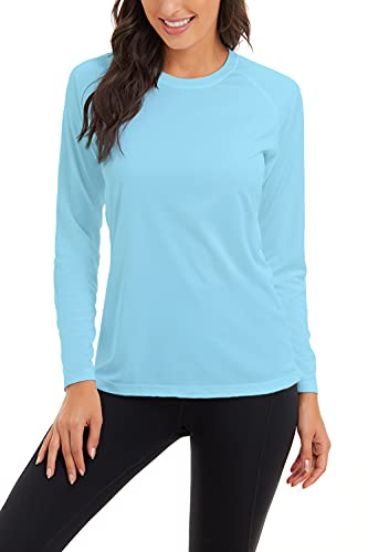 SMENG Camiseta de manga larga con protección solar UPF 50+ para mujer de secado rápido - azul - Medium