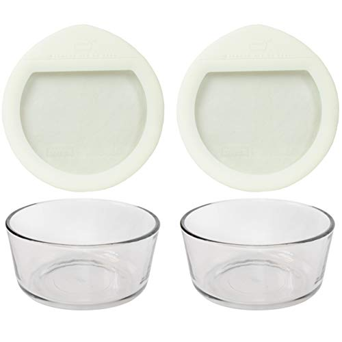 Pyrex (2) 7201 4 Cup Glass Dishes & (2) OV-7201 Ultimate 4 Cup Round White Glass lids