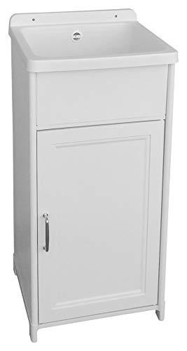 Adventa mini-wastafel, ruimtebesparend, 40 x 40 cm, van kunsthars, voor buiten, wit