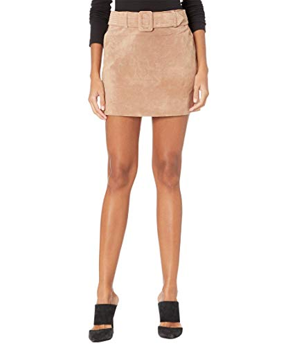 [BLANKNYC] womens Real Suede Quilted Self Belt Mini Skirt, Act Natural, 28 US