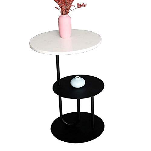 Home&Selected Furniture tafel, 2 niveaus, Scandinavische tafel, marmer, hoekbank, ijzer, zwart, soort kleine tafel, rond, balkon, salontafel, fabriek, stand (kleur: wit) Wit