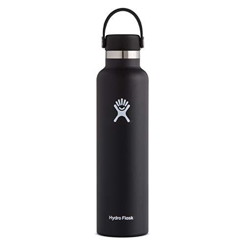 Hydro Flask Water Bottle - Standard Mouth Flex Lid - 24 oz, Black