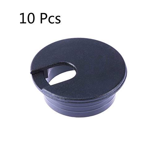 PRINDIY Escritorio pasacables Ojal 35 mm Paquete de 10 (Negro)
