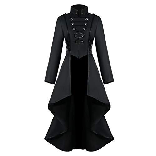 Riou retrò Gotico Cappotti da Donna Vitoria Steampunk Lungo Cappotti Moda Colore Pizzo Abbottonato Maniche Lunghe Cappuccio Giacche Invernali Giubbott