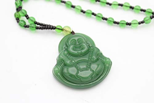 EastMeetsWest Green Jade Imitation Laughing Happy Buddha Pendant Beaded Necklace Feng Shui Protection