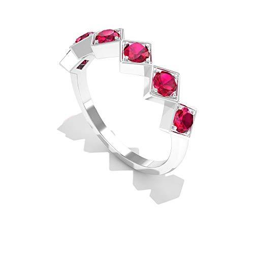 Rosec Jewels 14 quilates oro blanco redonda Red Rubí, relleno de vidrio