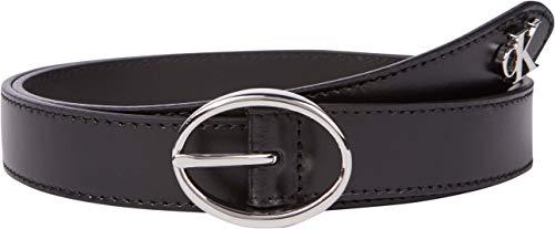 Calvin Klein Jeans Rounded Classic Belt 25MM Cintura, Nero, 75 cm Donna