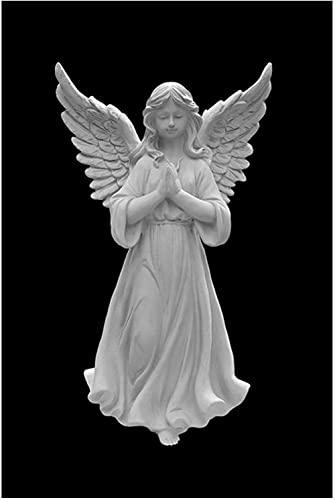 Estátuas de anjo em preto e branco Pôster Escultura de menina Pintura em tela Arte de parede Fotos para sala de estar Decoração de quarto 40X60cm Sem moldura