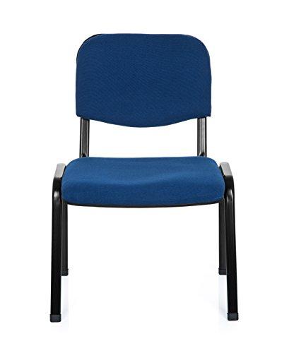 hjh OFFICE Konferenzstuhl Besucherstuhl XT 600 XL Stoff, extra breite Sitzfläche, ergonomischer Vierfußstuhl, Rückenlehne, stapelbar, bis 150 Kg (blau)