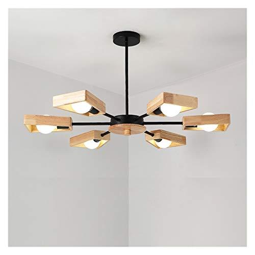 Lámparas LED de madera nórdicas Lámpara de madera maciza Simple Simple Creative Personalidad Ropa Tienda Sala Sala Comedor Habitación Lámpara de techo (Color : 6 heads)