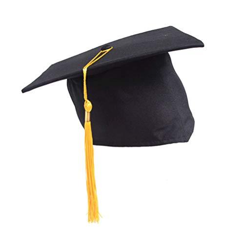 BESTOYARD Gelb Graduation Quaste Cap Einstellbare Studenten Doktor Hut Hat Bachelor Hut für Erwachsene Kinder Abschlussfeier Gefälligkeiten (Schwarz + Gelb)