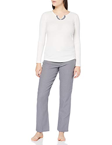 Pepe Jeans Cotton Rib + Flannel Juego de Pijama, Blanco Perla (ral 1013), L para Mujer
