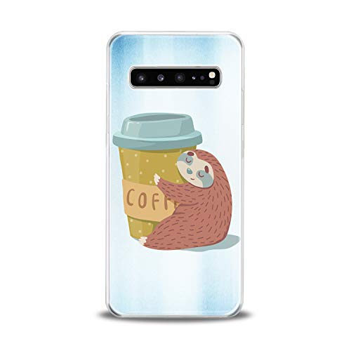 Anreda Silicone Phone Case for Samsung Galaxy S20 S10 Plus Note 20 5G S9 S8 S7 Coffee Print Sloth Slim fit Lazy Cover Morning Girls Smooth Animal Clear Flexible Yellow Funny Teen Design Cute Soft
