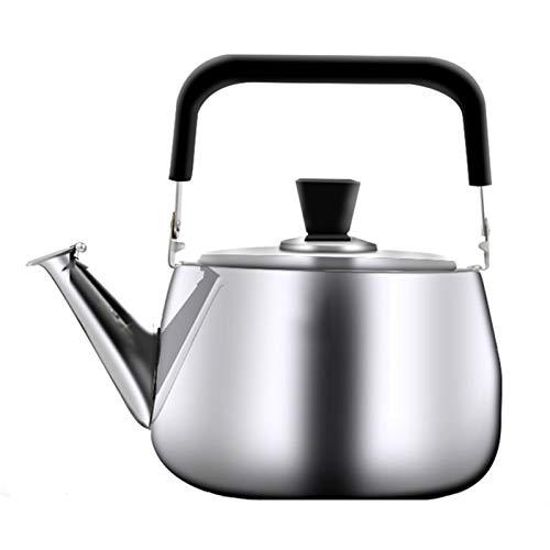 heat Hervidor de té silbante de acero inoxidable de grado alimenticio, boquilla aerodinámica, apto para todas las cocinas y teteras del hogar (color: plata, tamaño: 5 L)