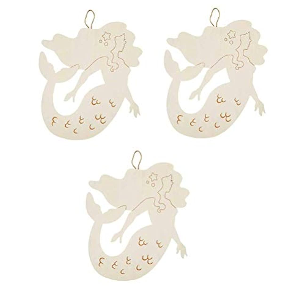 J&J's ToyScape Mermaid Hanging Wooden Shape (Pack of 3, Size: 12.6