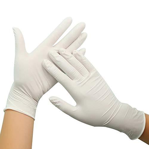 Guantes Desechables de látex desechables, Stock Disponible, Envío Rápido, Caja de 100 guantes. Color Blanco talla L