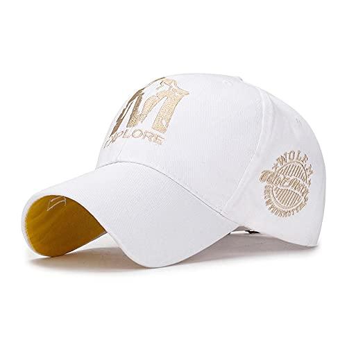 LLSB Gorra De Béisbol Bordada M-Wolf Primavera Ocio Sombrero para El Sol para Hombres Y Mujeres Tendencia Juvenil Sombrero Versátil para Niños Ajustable Blanco